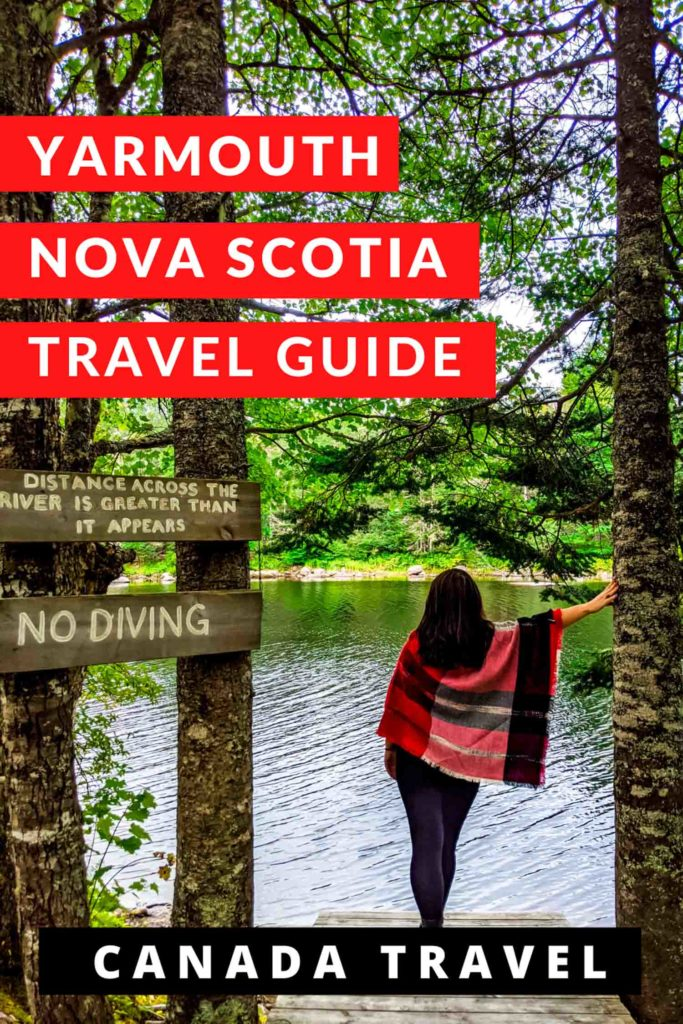 Ayngelina with red plaid cape in forest with text that says yarmouth nova scotia travel guide and canada travel