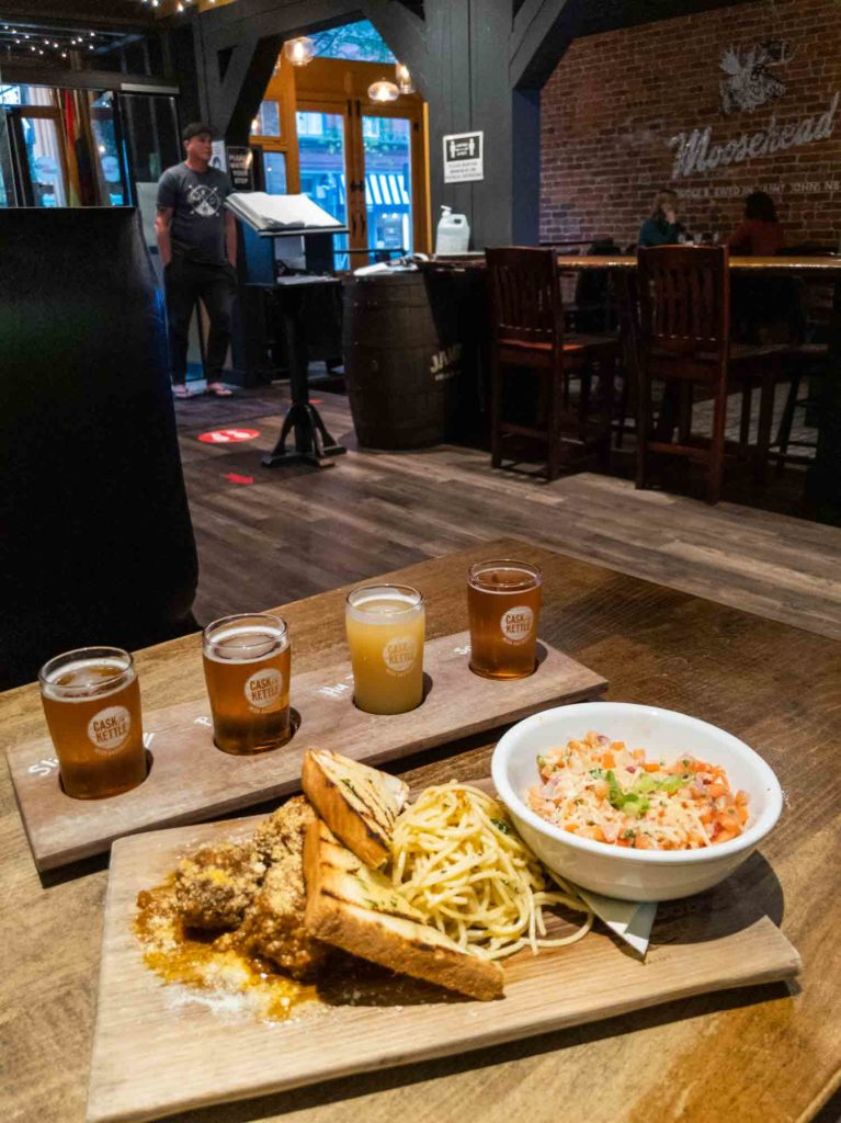 Flight of beer and food at Cask and Kettle in New Brunswick Canada