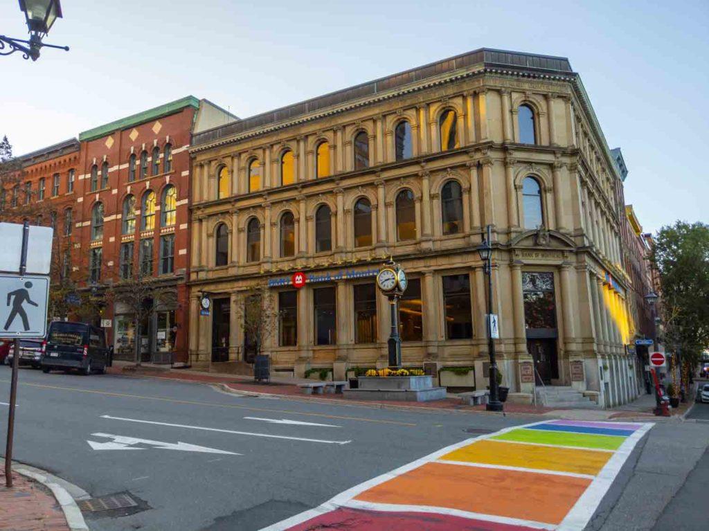 Downtown Saint John in New Brunswick with rainbow sidewalk
