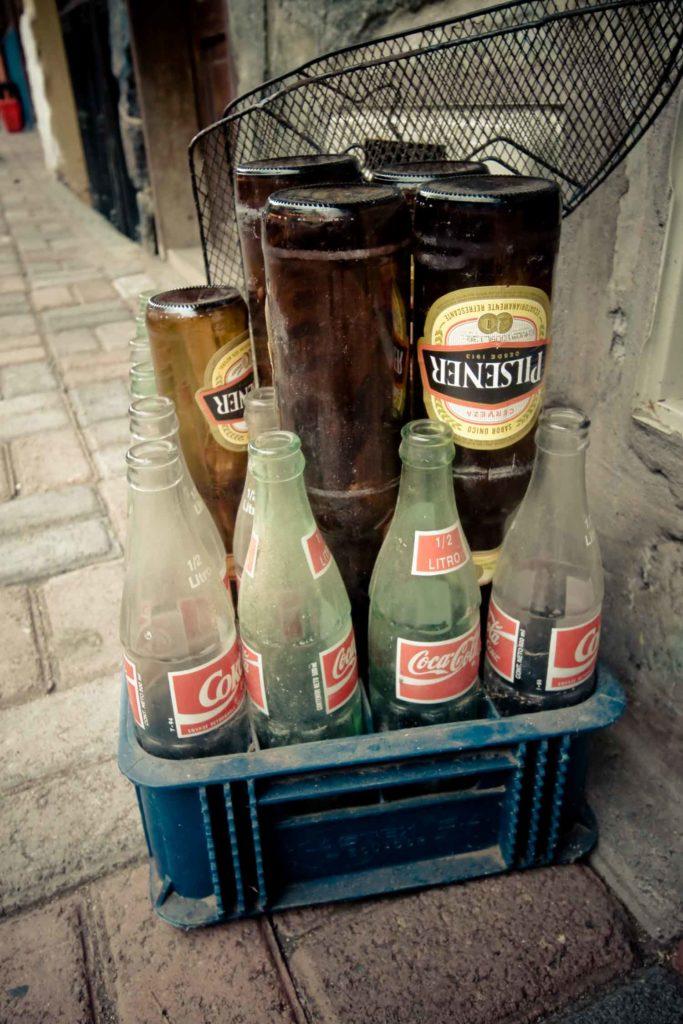 Empty bottles of Ecuadorian beer