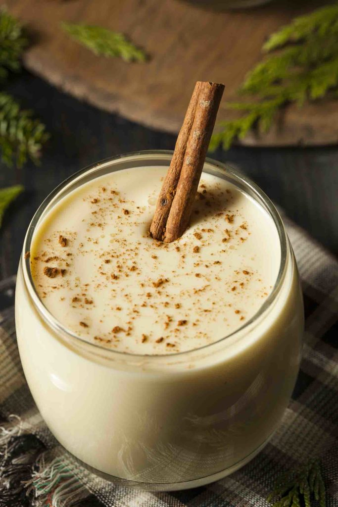 popular holiday Ecuadorian drink, rompope with cinnamon