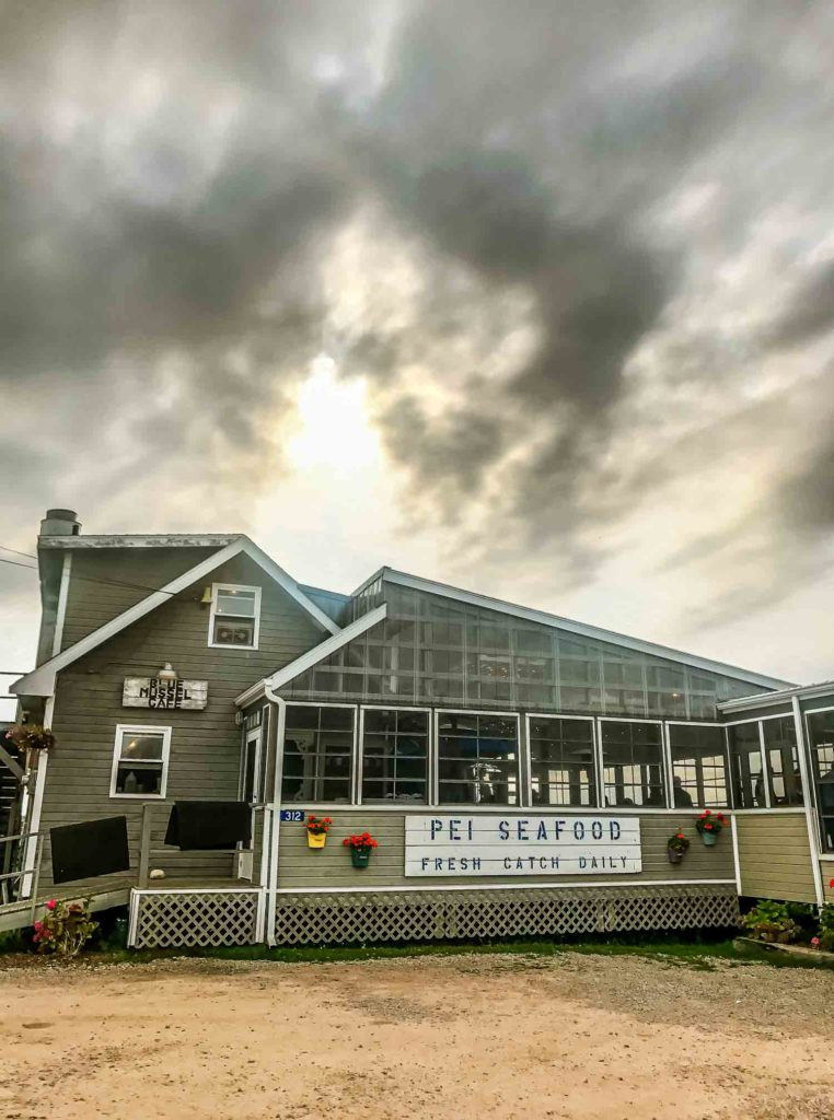 Blue Mussel Cafe exterior in North Rustico Prince Edward Island