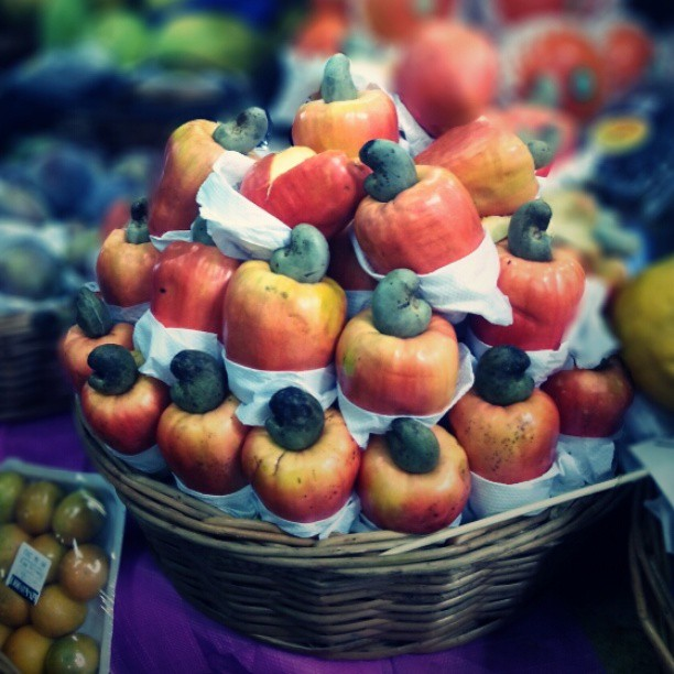 Brazilian fruits caju or cashew fruit, at the market