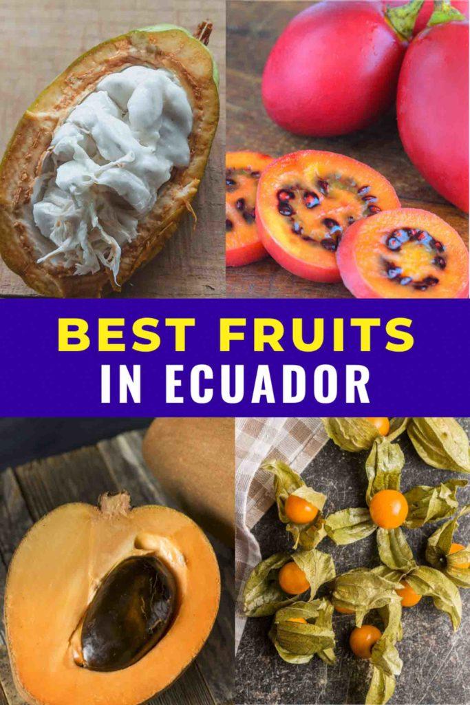 Collage of fruits in Ecuador