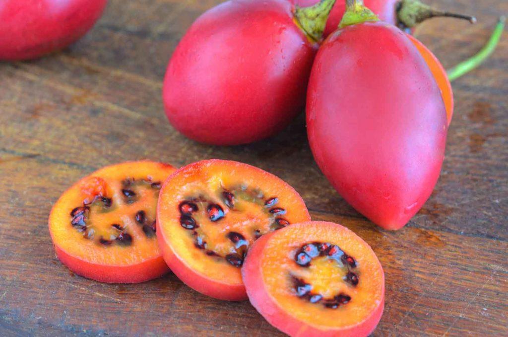 Red tamarillo or tree tomato in Ecuador cut into slices on cut board. Exotic fruit Tamarillo
