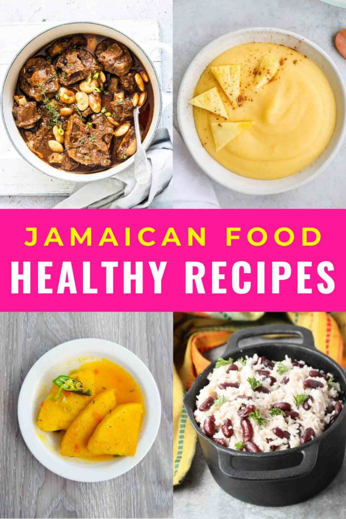 Collage of four plates of Jamaican food with pink bar and heading Jamaican food healthy recipes
