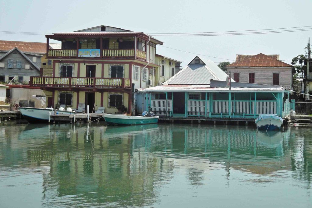 Belize City waterfront with restaurants and hotels