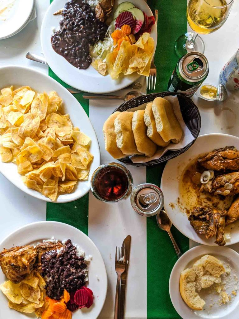 Typical healthy Cuban food in the countryside, on a table in Las Terrazas