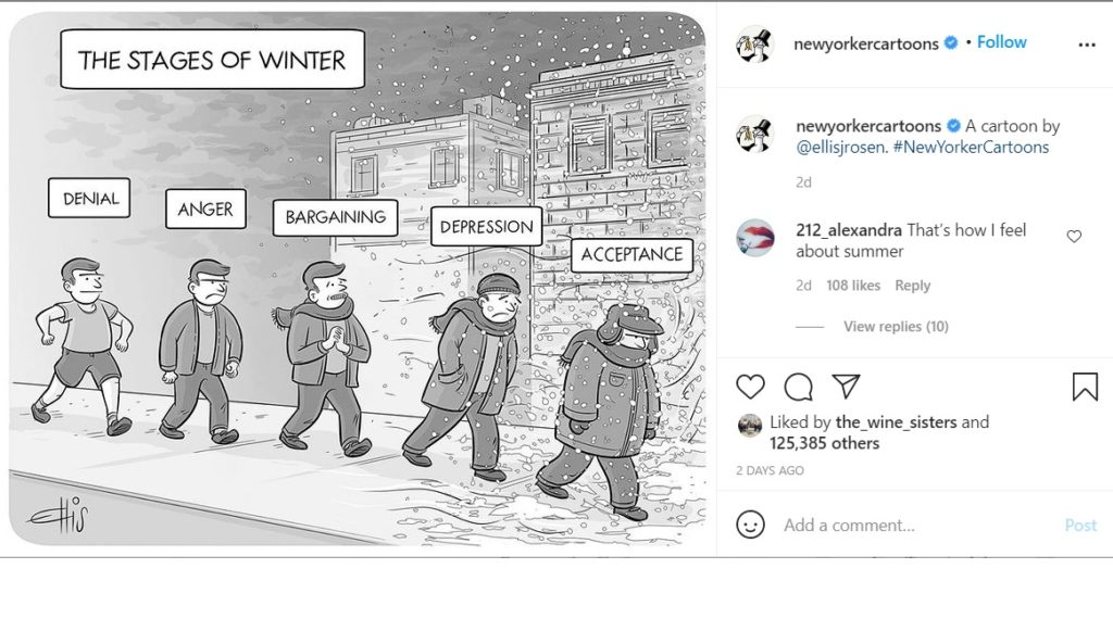 New Yorker cartoon about winter