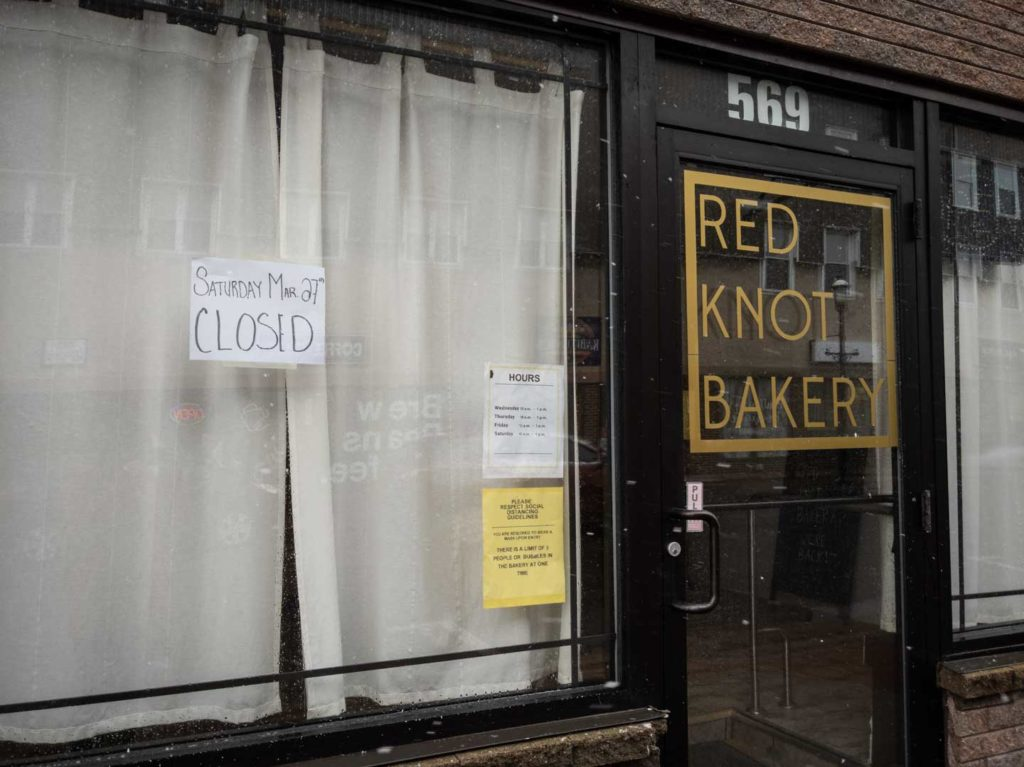 Red Knot Baker with sign saying it is closed