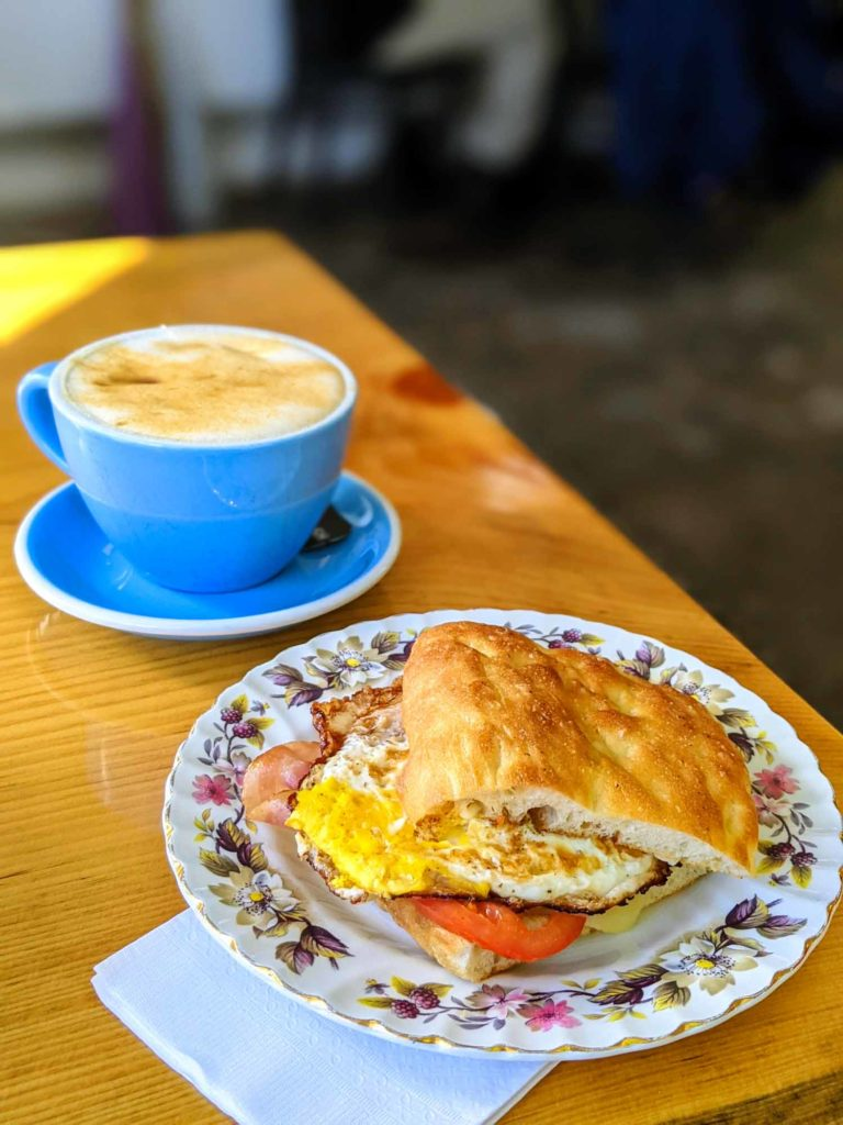 Tipperary Cafe maple latte and breakfast sandwich
