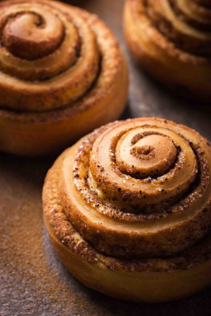 close up of cinnamon roll