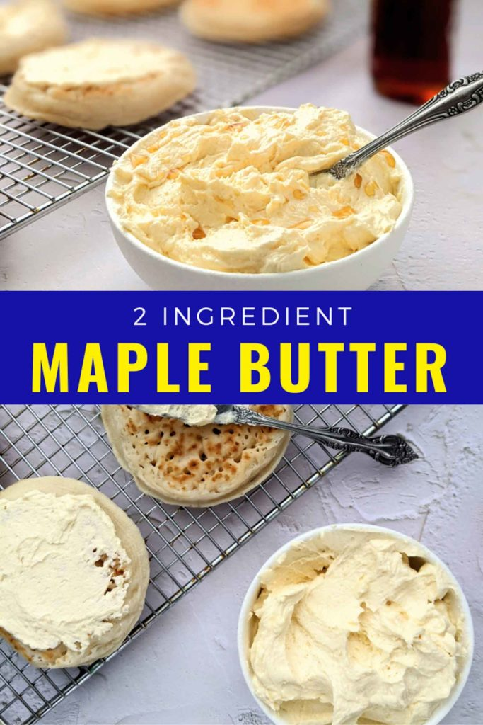 Whipped maple butter in a bowl on a table with crumpets.