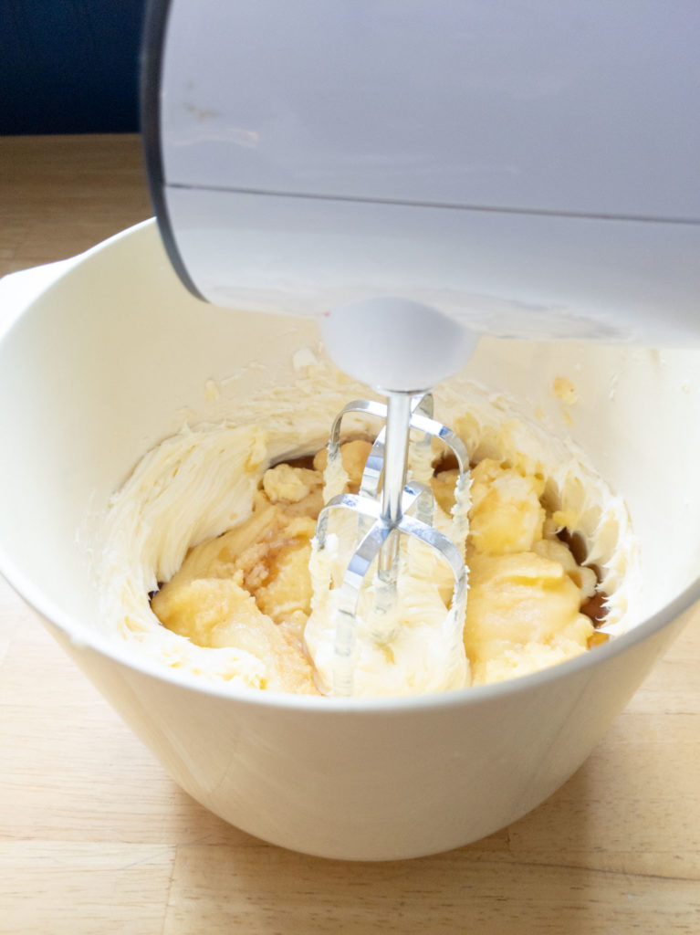 Mix master in bowl with butter, maple syrup and brown butter.