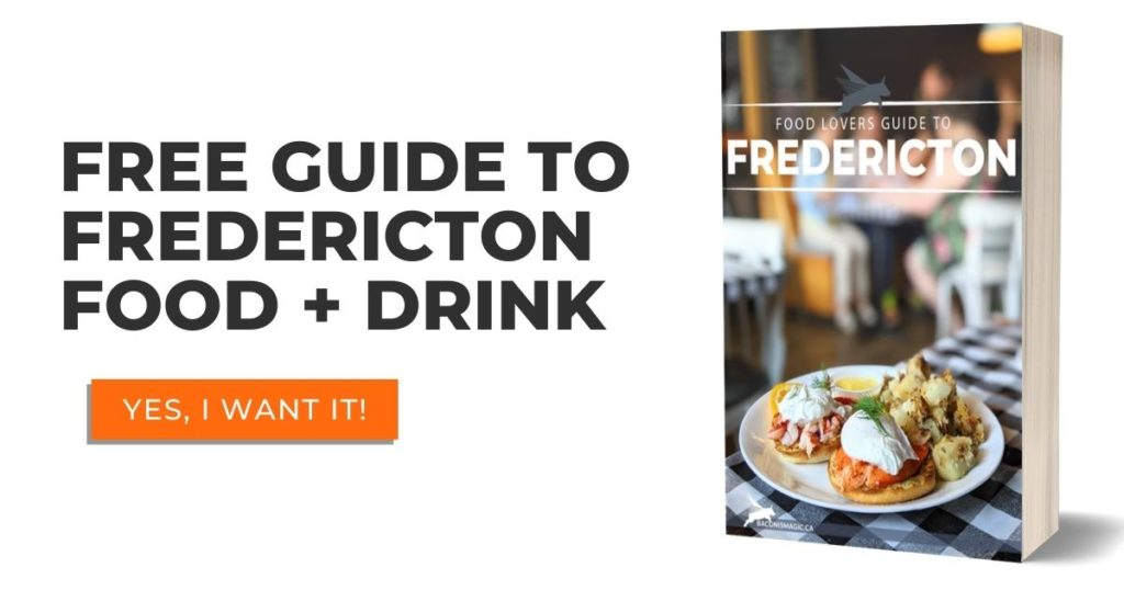 Free guide to Fredericton Food + Drink downloadable guide with ebook cover