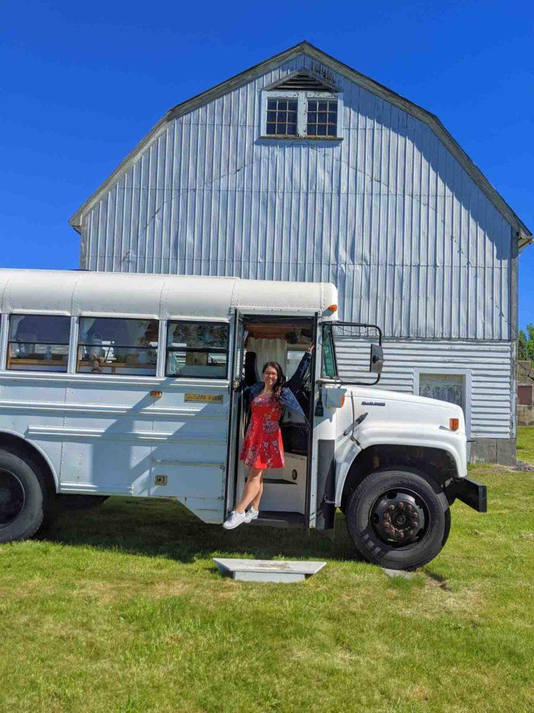 Ayngelina at an airbnb skoolie, renovated school bus
