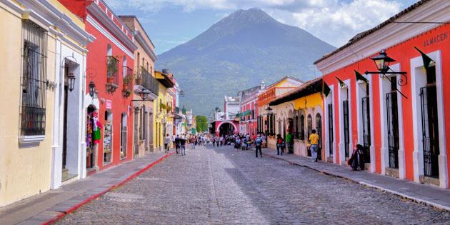 ANTIGUA GUATEMALA - JULY 30 : Street view of Antigua Guatemala on July 30 2015. The historic city Antigua is UNESCO World Heritage Site since 1979.